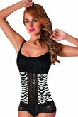 Zebra Knochen Tier Latex Drucken Taille Bustiers & Korsetts