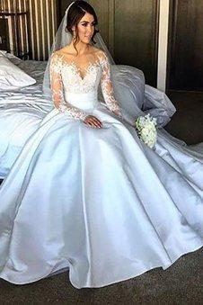 Schulterfrei Satin Duchesse-Linie Normale Taille Brautkleid mit Gericht Schleppe