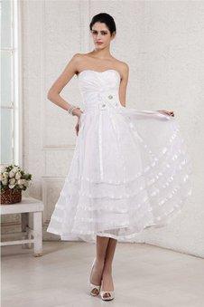 Ärmelloses Drapiertes Reißverschluss A-Linie Wadenlanges Brautkleid