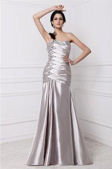 Prinzessin A-Linie Elastischer gewebter Satin Perlenbesetztes Ärmelloses Abendkleid