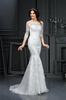 Halbe Ärmeln Enganliegendes Normale Taille Ärmellos Reißverschluss Brautkleid