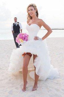 Organza Prinzessin Normale Taille Ärmellos Rocklänge-asymmetrisches Brautkleid