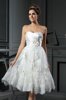 Prinzessin Empire Taille Gerüschtes Mini Brautkleid aus Satin
