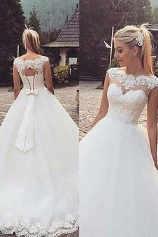 Ärmelloses Normale Taille Tüll Duchesse-Linie Brautkleid mit Bordüre