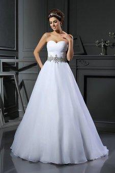 Herz-Ausschnitt Perlenbesetztes Empire Taille Satin Duchesse-Linie Brautkleid