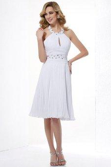 Ärmellos Normale Taille Prinzessin Perlenbesetztes Mini Brautjungfernkleid