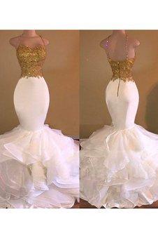 Ärmelloses Meerjungfrau Normale Taille Organza Bodenlanges Ballkleid