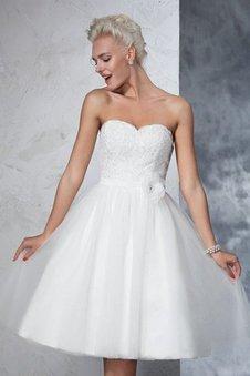 Prinzessin Mini Knielanges Brautkleid mit Reißverschluss mit Blume