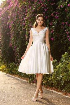 Perlenbesetztes A-Linie Normale Taille Satin Mini Brautkleid