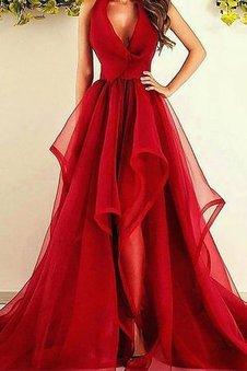 A Linie Ärmelloses V-Ausschnitt Prinzessin Abendkleid aus Organza