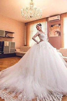 Tüll Normale Taille Langärmeliges V-Ausschnitt Duchesse-Linie Brautkleid