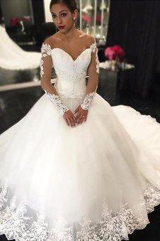 Ärmellos Duchesse-Linie Normale Taille Tüll Brautkleid mit Applikation