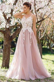 Ärmelloses A Linie Normale Taille Prinzessin Abendkleid mit Juwel Ausschnitt