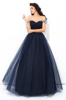 Duchesse-Linie Natürliche Taile Reißverschluss Bodenlanges Partykleid mit Perlen