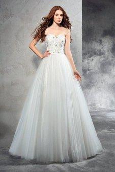 Prinzessin Perlenbesetztes A-Linie Anständiges Bodenlanges Brautkleid