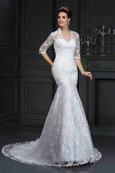 Meerjungfrau Gericht Schleppe Halbe Ärmeln Brautkleid mit Bordüre mit V-Ausschnitt
