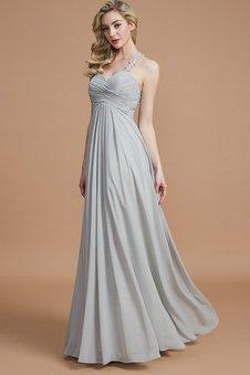 Reißverschluss Normale Taille A-Linie Chiffon Gerüschtes Brautjungfernkleid