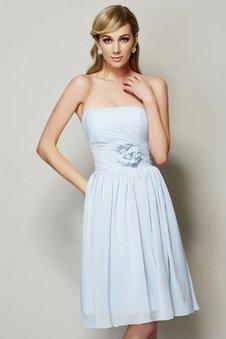 Chiffon A-Linie Prinzessin Knielanges Brautjungfernkleid mit Reißverschluss