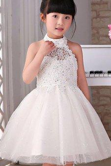 Tüll Prinzessin Nackenband Blumenmädchenkleid mit Perlen mit Blume