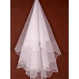 Luxuriös Perlenstickerei Kurz Brautschleier