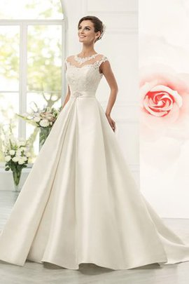 Juwel Ausschnitt Natürliche Taile Satin Bodenlanges Brautkleid mit Gekappten Ärmeln