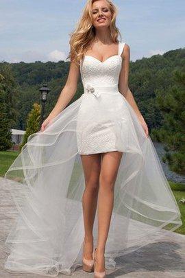 Tüll Spaghetti Träger Informelles Brautkleid mit Bordüre mit Gürtel