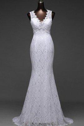Spitze Ärmellos Natürliche Taile Brautkleid mit Offenen Rücken mit Rücken Schnürung
