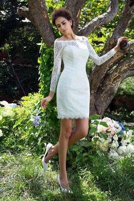 Langärmeliges Etui Reißverschluss Schaufel-Ausschnitt Mini Brautkleid