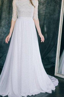 Chiffon Reißverschluss Ärmellos Bodenlanges Brautkleid aus Spitze