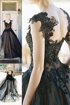 Ärmelloses Duchesse-Linie Normale Taille Sweep train Ballkleid mit Bordüre
