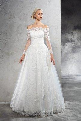 Schulterfrei Reißverschluss Normale Taille Anständiges Brautkleid mit Bordüre