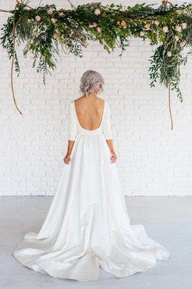 A-Line Hoher Kragen Gericht Schleppe 3 /4 Länge Ärmeln Sexy Brautkleid