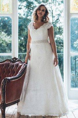 V-Ausschnitt Kurze Ärmeln Luxus Brautkleid aus Spitze mit Sweep Zug
