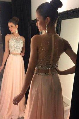 Normale Taille Prinzessin Chiffon Abendkleid mit Reißverschluss mit Sweep Zug