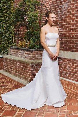 Natürliche Taile Ärmellos Modern Bodenlanges Brautkleid aus Satin