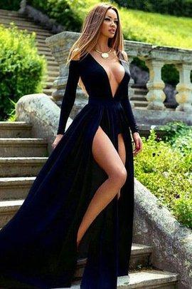 Prinzessin A-Linie Samt Niedlich V-Ausschnitt Sweep Zug Abendkleid