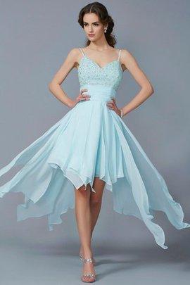 A Linie Normale Taille Vorn Kurz Hinten Lang Prinzessin Abiballkleid mit Perlen