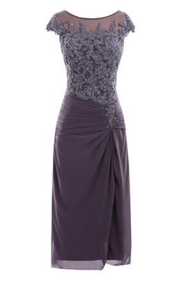 Etui Halle Chiffon Ausgefallenes Luxus Brautmutterkleid mit Durchsichtiger Rücken
