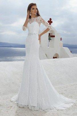 Spitze Bateau Hoher Kragen Luxus Brautkleid mit Plissierungen