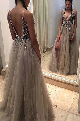 Prinzessin Tüll Bodenlanges Abendkleid mit Pailletten mit Natürlicher Taille