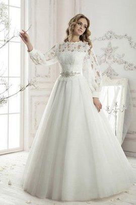 A-Line Plissiertes Bodenlanges Konservatives Brautkleid mit Langen Ärmeln