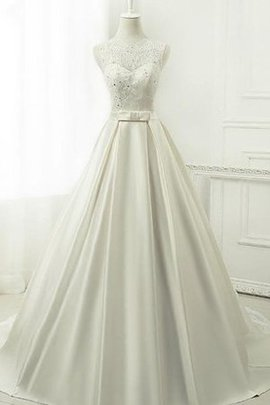 Spitze Organza Chiffon Bodenlanges Brautkleid ohne Ärmeln