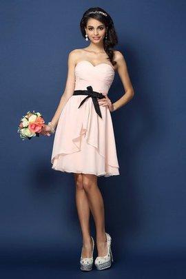 Chiffon Reißverschluss Mini Brautjungfernkleid mit Gürtel mit Natürlicher Taille