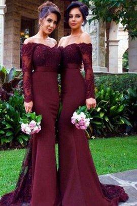 Meerjungfrau Stil Satin Sweep train Normale Taille Langärmeliges Brautjungfernkleid