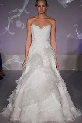 Duchesse-Linie Herz-Ausschnitt Plissiertes Brautkleid mit Bordüre mit Offenen Rücken