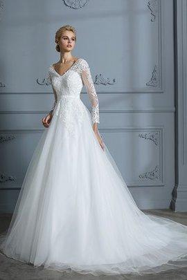 Tüll Normale Taille Wunderbar Langärmeliges Brautkleid mit V-Ausschnitt mit Bordüre