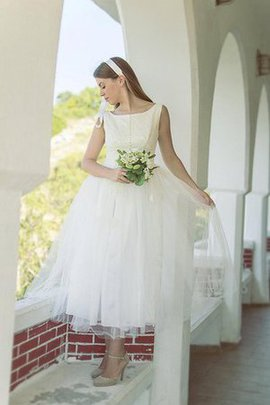 A-Line Bateau Ärmellos Wadenlanges Brautkleid mit Natürlicher Taille