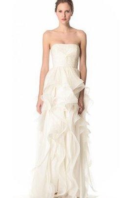 Trägerlos Ärmelloses Natürliche Taile Bodenlanges Brautkleid mit Rüschen