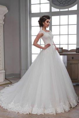 Spitze Duchesse-Linie Bodenlanges Brautkleid mit Rücken Schnürung mit Kapelle Schleppe