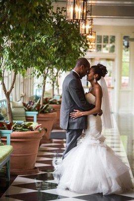 Tüll Ärmellos Kurzes Brautkleid mit Rüschen mit Herz-Ausschnitt